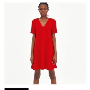 ZARA TRAFALUC Red V Neck Mini Dress-Size Medium